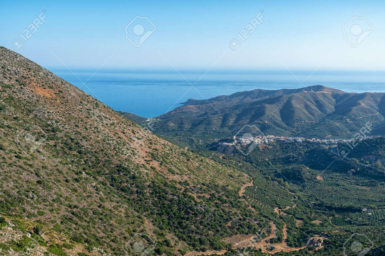 The mountain village of Metokhi Irisiana on the Greek island - 171854748