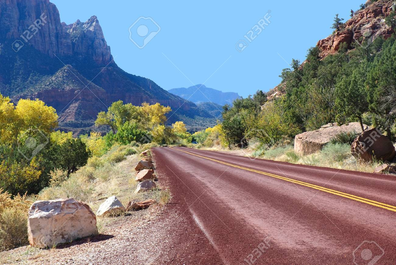 mountain road in Zion National Park in the fall Stock Photo - 5997771