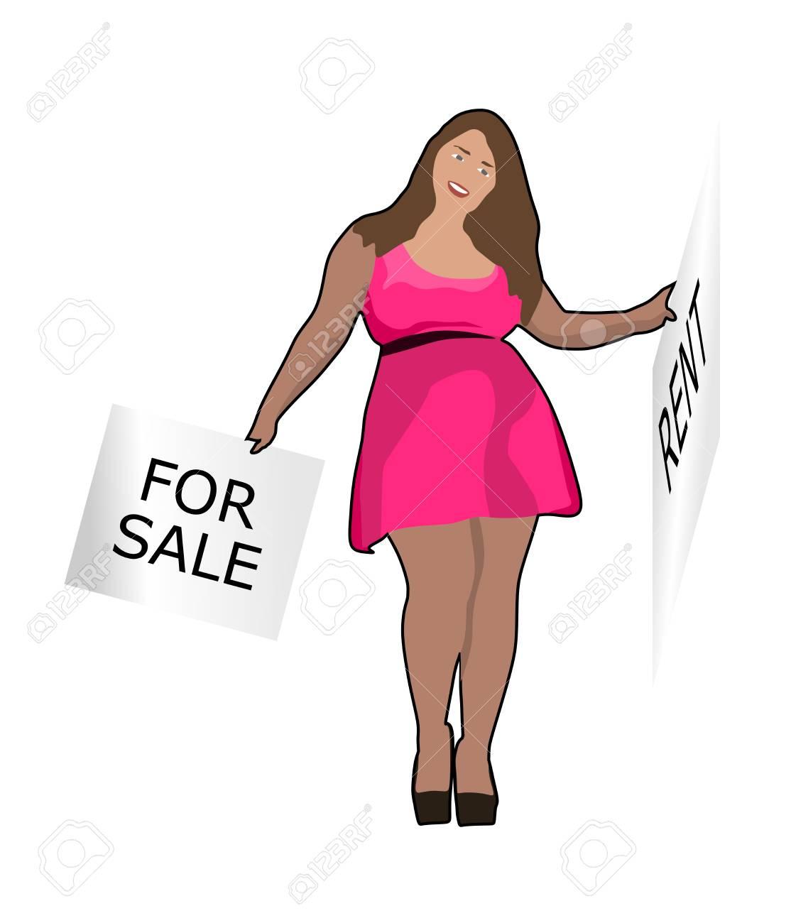 Grosse Dame Image grosse dame avec bannière clip art libres de droits , vecteurs et