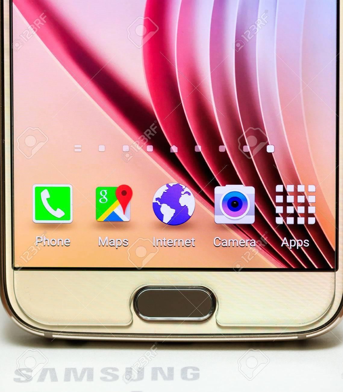 Bottom main button of Samsung Galaxy S6 gold platinum 64 gb edition Stock Photo - 53810986