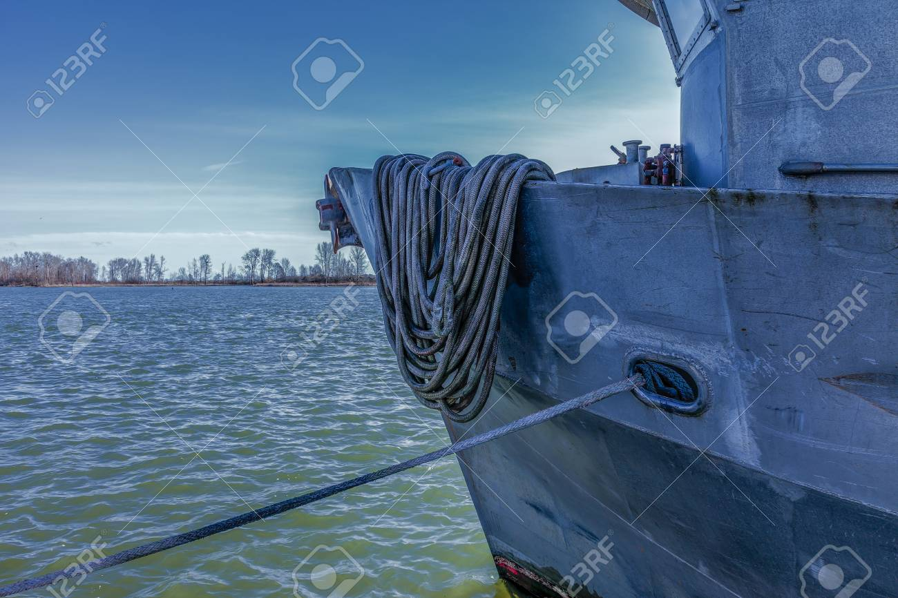 A moored fishing vessel in late spring, ready for open season. Stock Photo - 58302748
