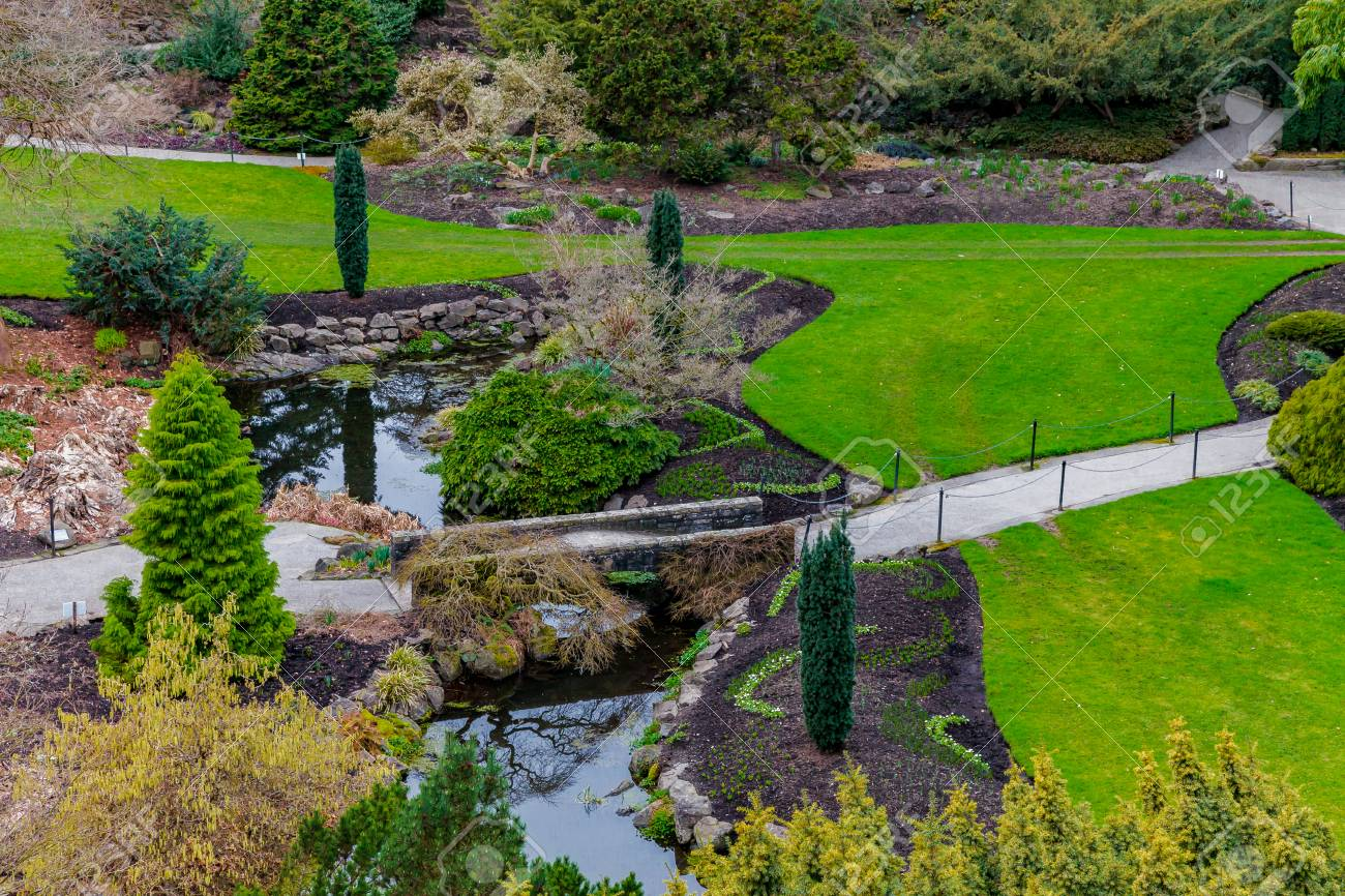 Looking down on a deserted park at the end of spring. Stock Photo - 58302882