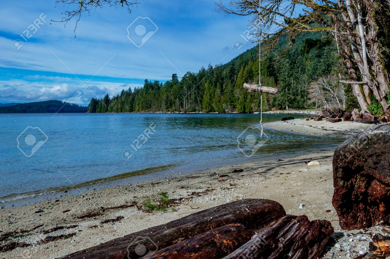 Campsite in the Canadian wilderness with a home made swing Stock Photo - 58948307