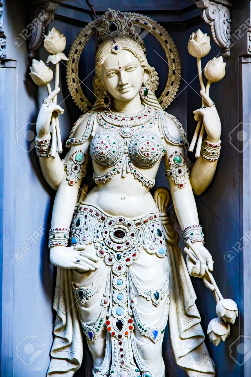 Goddess statue warmly welcoming worshippers as they enter the temple. Stock Photo - 77874221