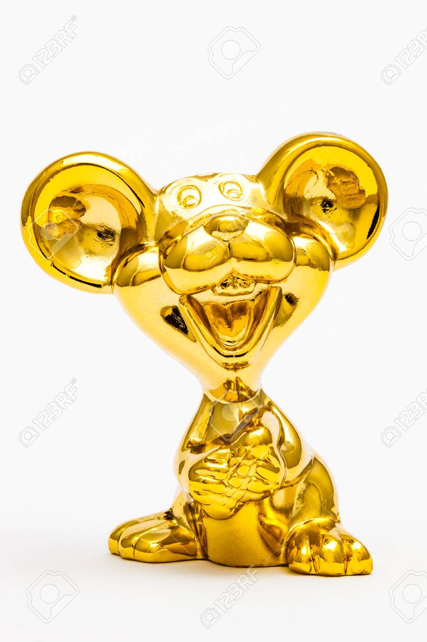Golden figurine of the chinese zodiac sign of the rat. Stock Photo - 76996297