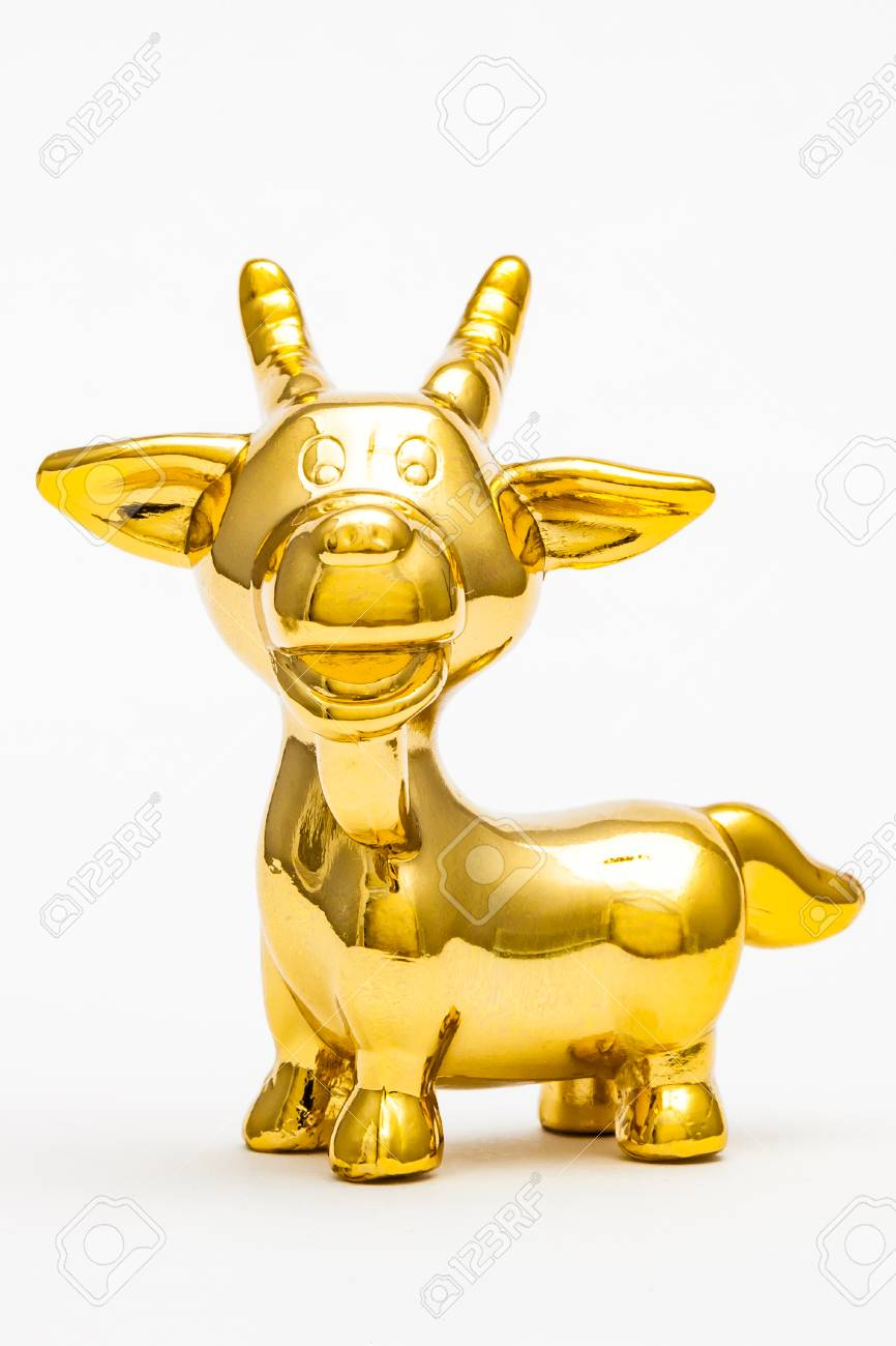 Golden figurine of the chinese zodiac sign of the sheep. Stock Photo - 76996302