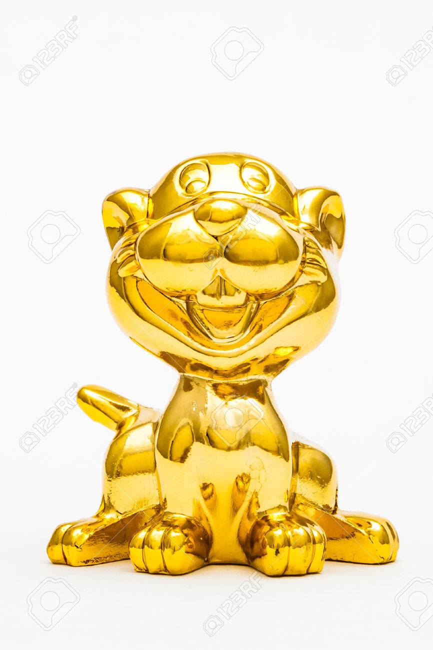 Golden figurine of the chinese zodiac sign of the tiger. Stock Photo - 76996308