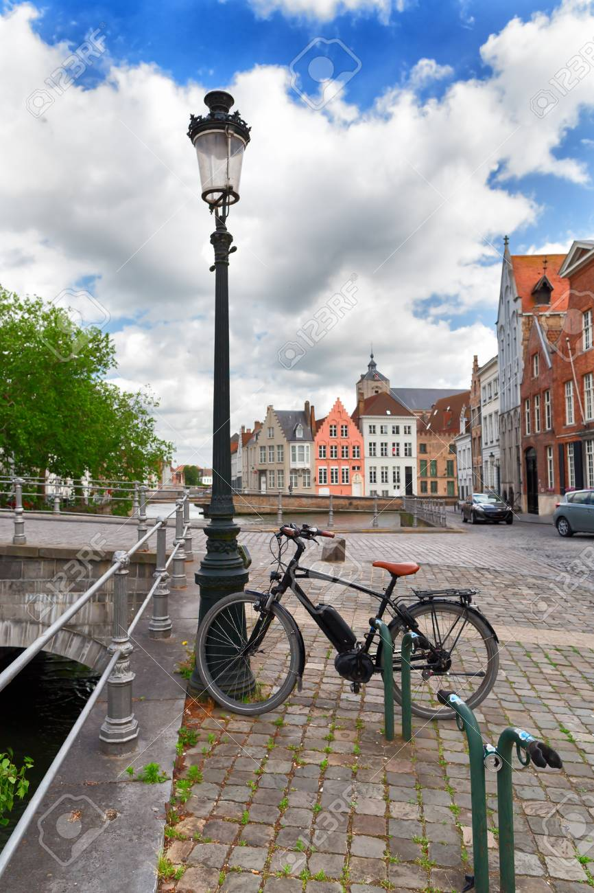 The Bicycle At A Lamppost In The City Of Bruges Belgium Historic