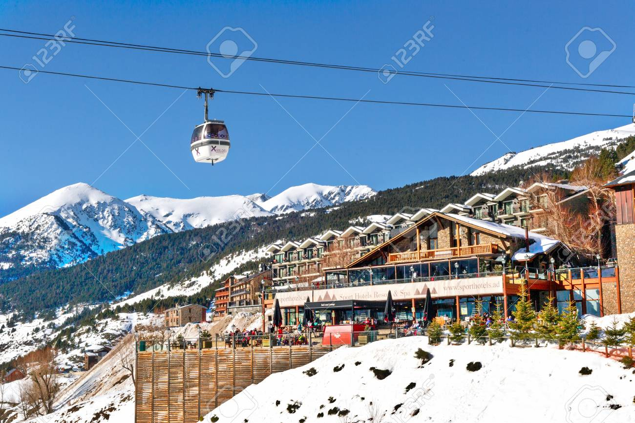 soldeu, andorra - february 9, 2017: view of hotel in mountains