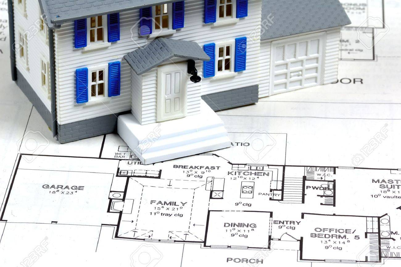 Miniature Home and Plans. Stock Photo - 241152