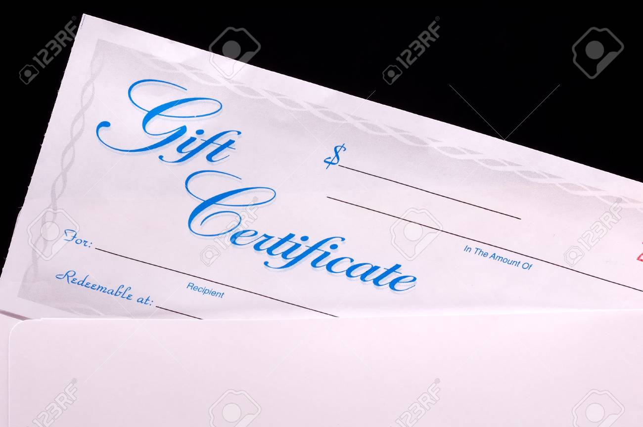 gift certificate in an envelope stock photo picture and royalty
