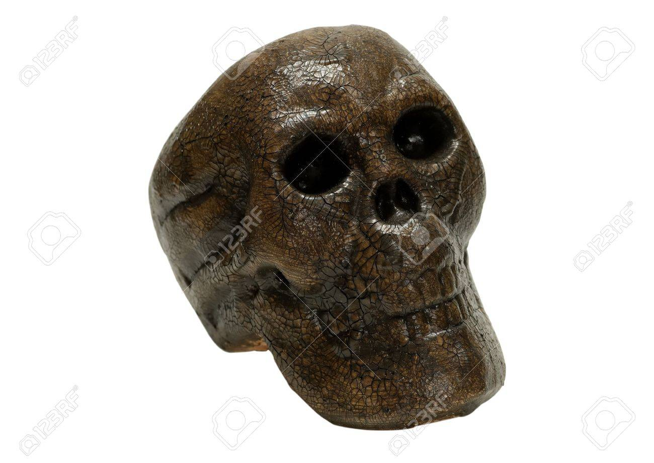 Isolated Human Skull Carving