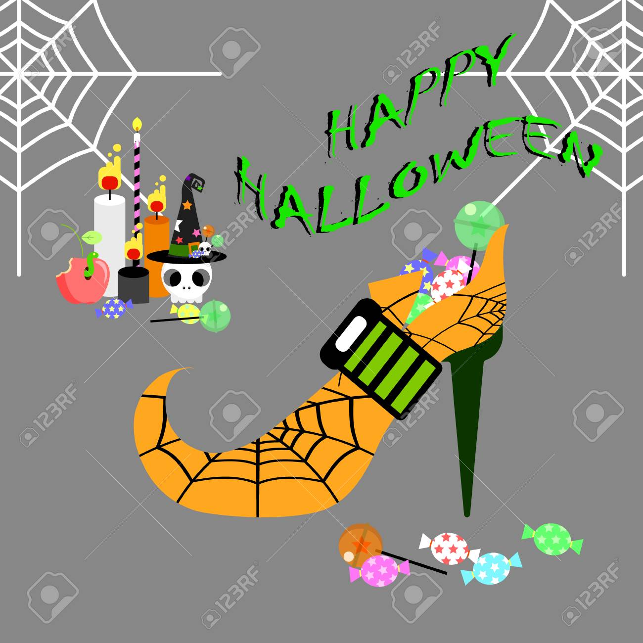 happy halloween greeting card with high heel candy skull apple
