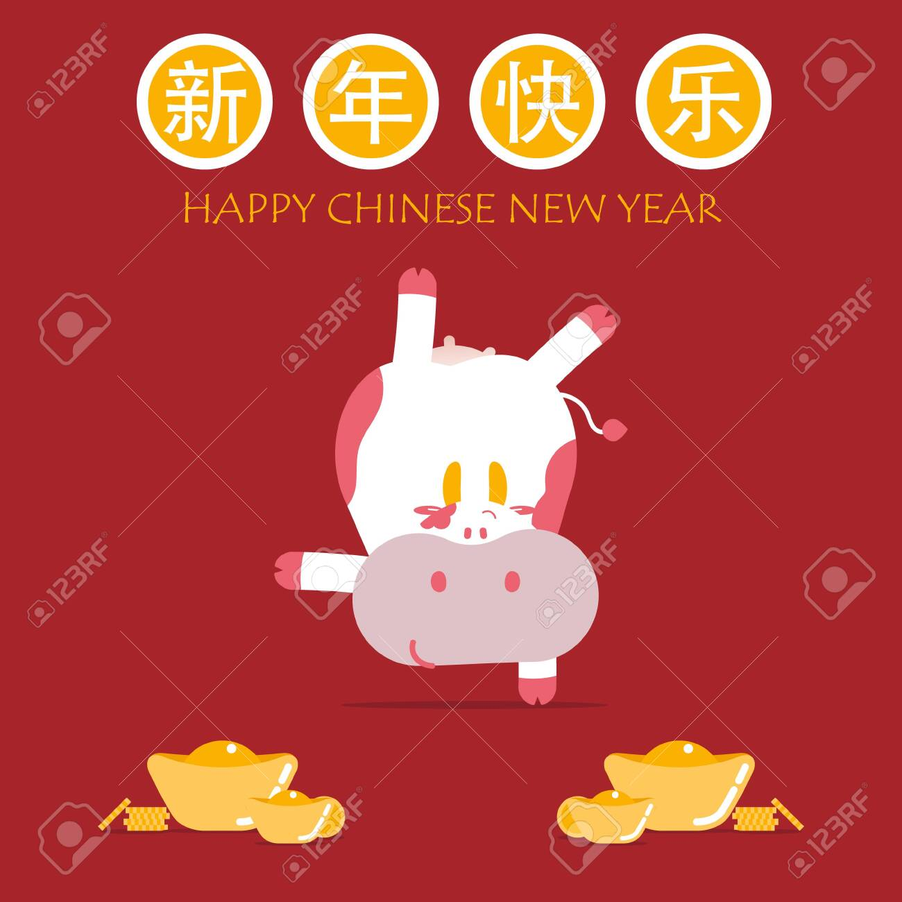 happy chinese new year with text, year of cow, asian culture festival concept with gold in red background, flat vector illustration cartoon character design - 154335032