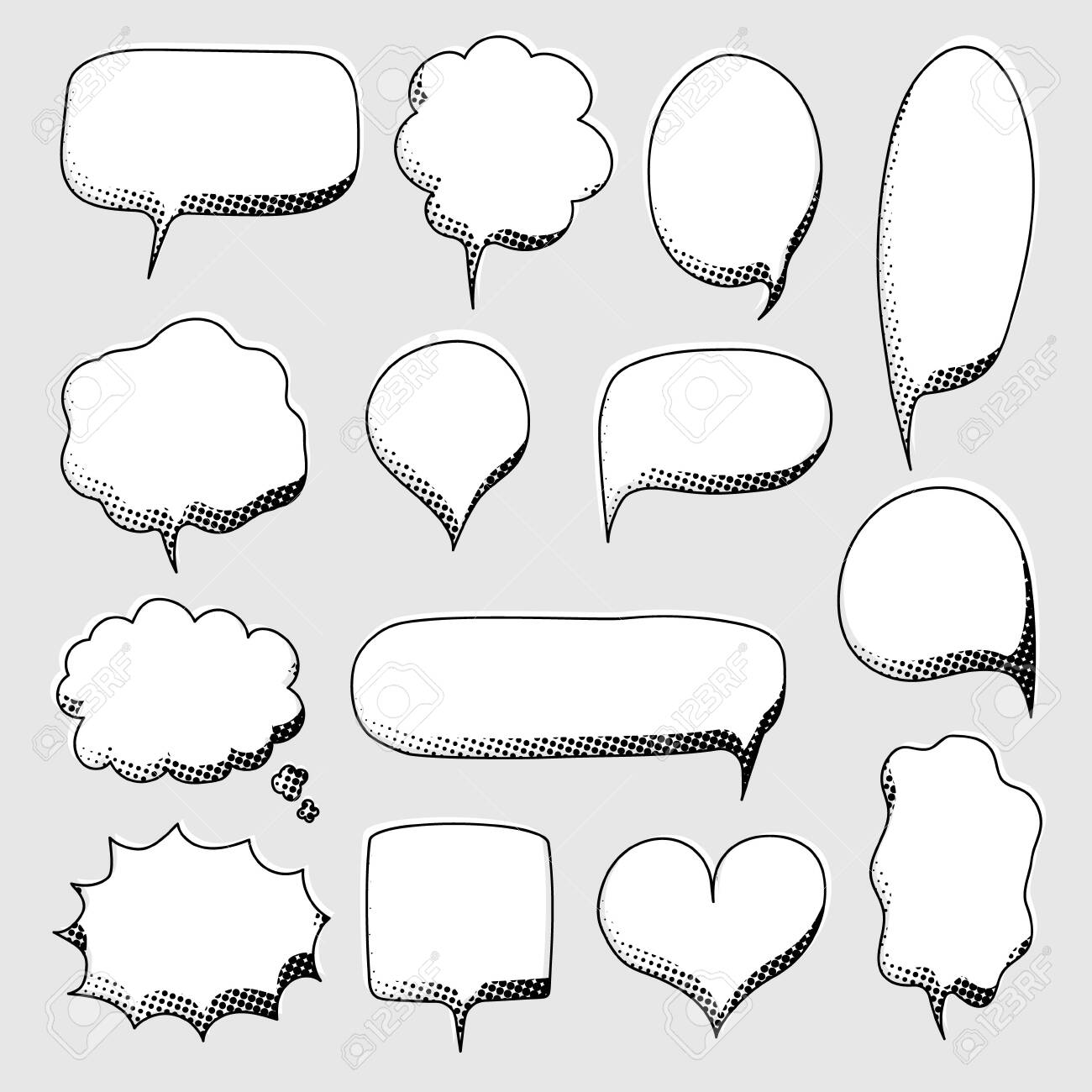 collection set of hand drawn pop art polka dots halftone, blank speech bubble balloon, black and white color, shout, think, speak, talk, text box, banner, flat, design, vector illustration - 158519393