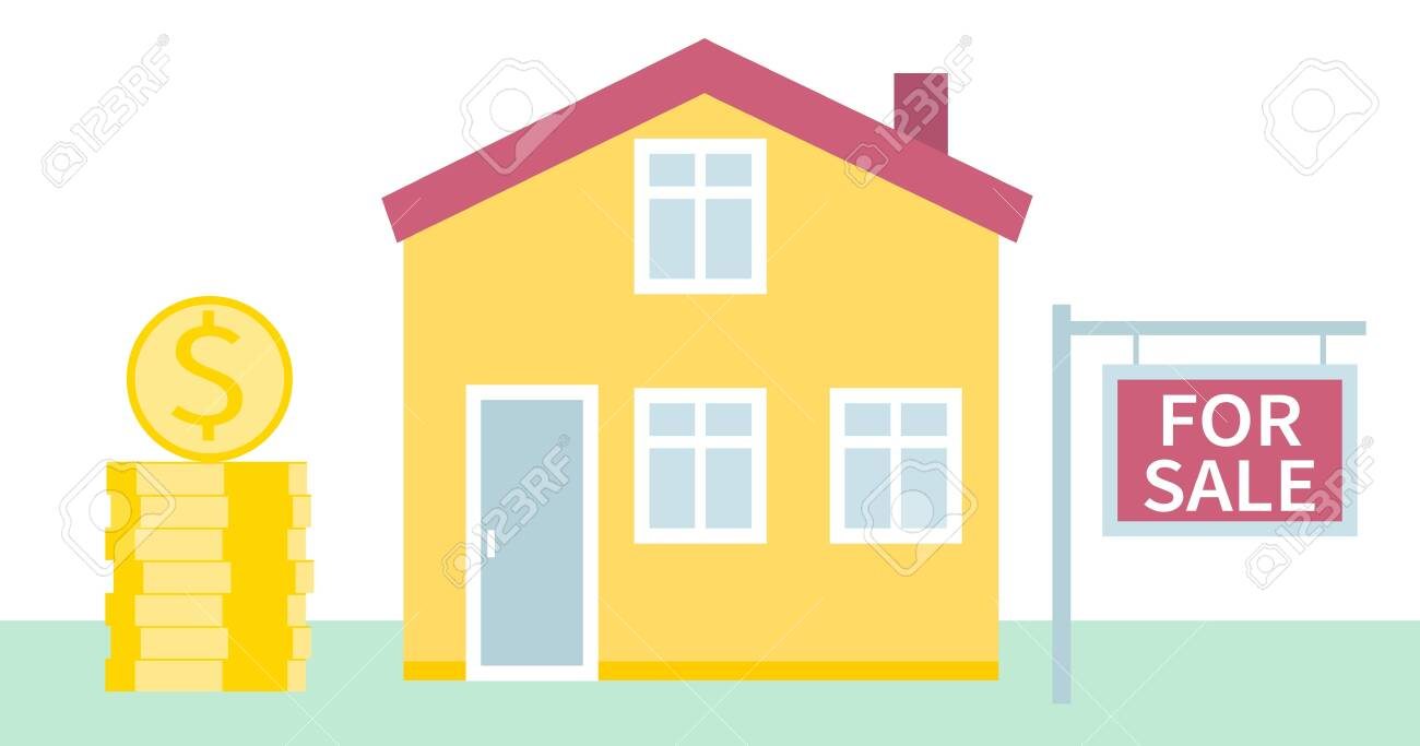 House for sale. Real estate business concept with houses. The house and signboard with the information. Vector illustration in flat style - 149551190