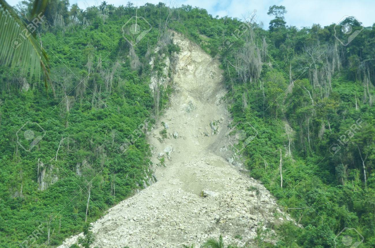Avalanche of limestone mountain in the Philippines photo - 76216333