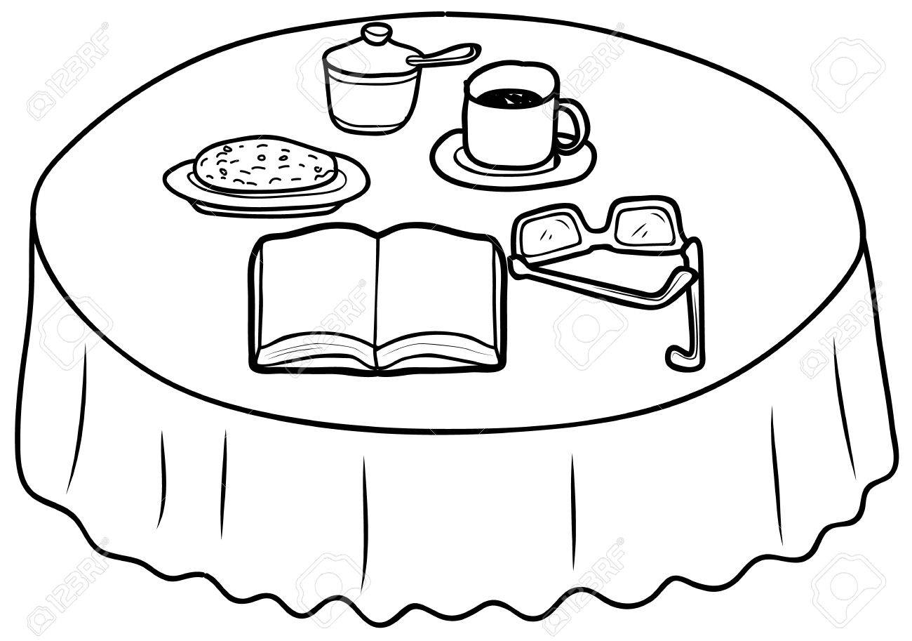 coffee table drawing. Things On The Coffee Table Sketch Drawing Stock Vector - 81008530