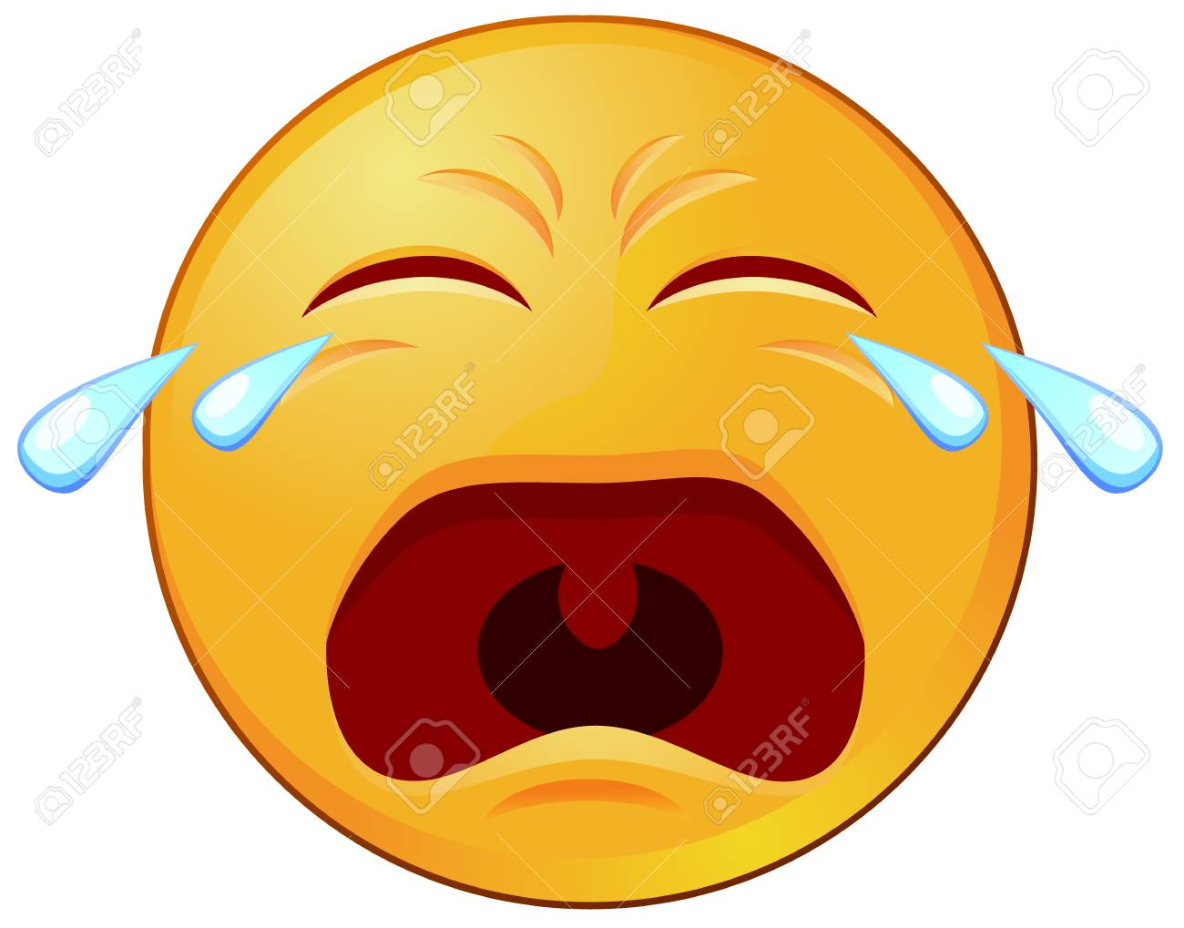 Crying Yellow Emoji With Tears And Mouth Open Vector Stock