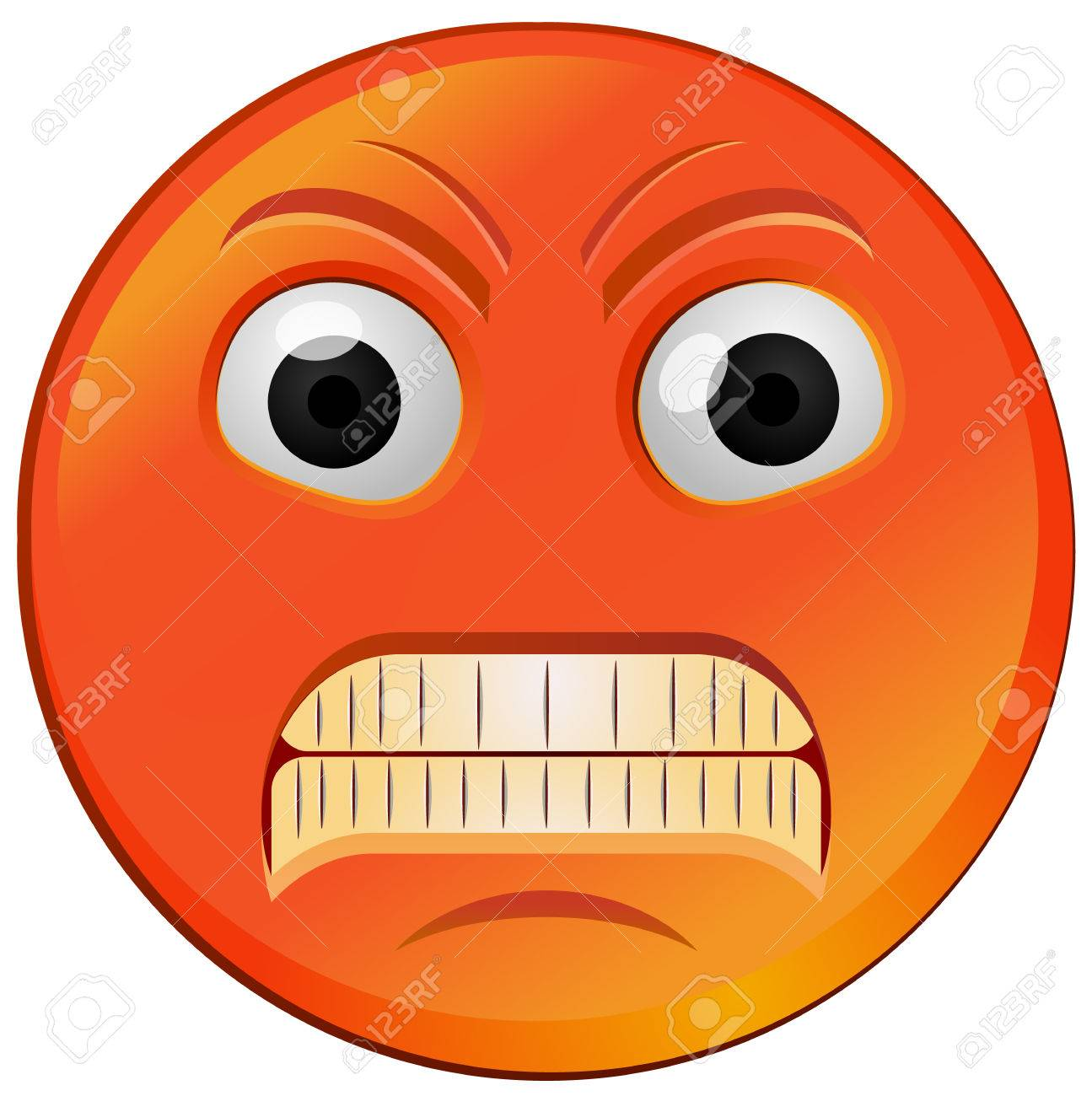 red fuming or raging angry emoji vector icon royalty free cliparts