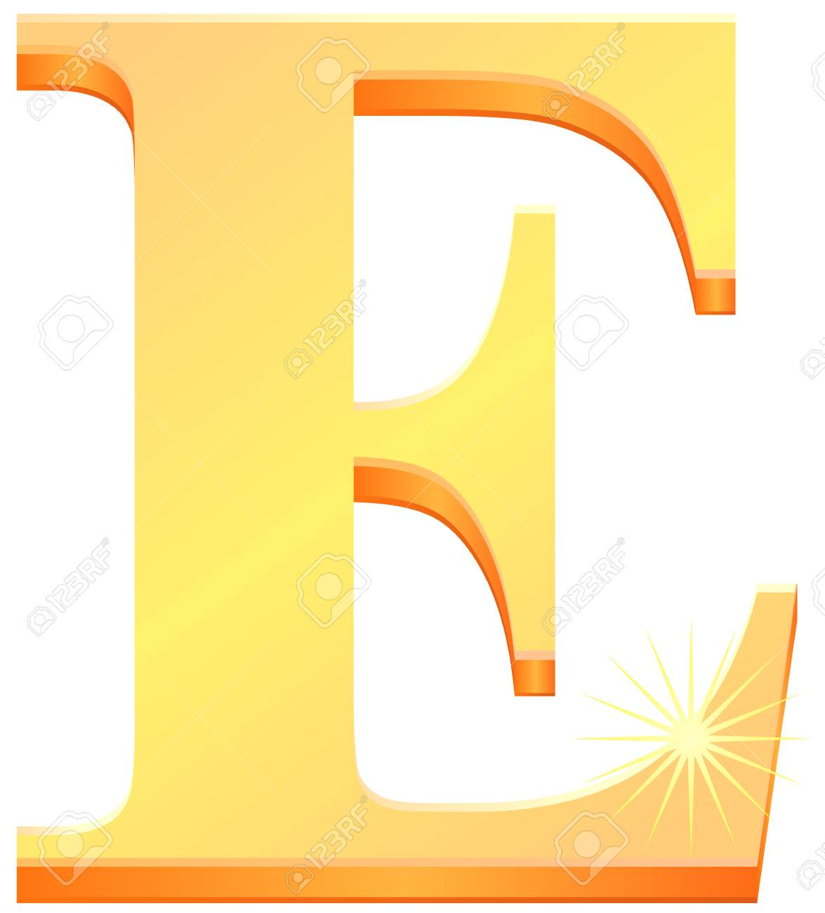 Gold Capital Letter E In 3D Vector Royalty Free Cliparts, Vectors