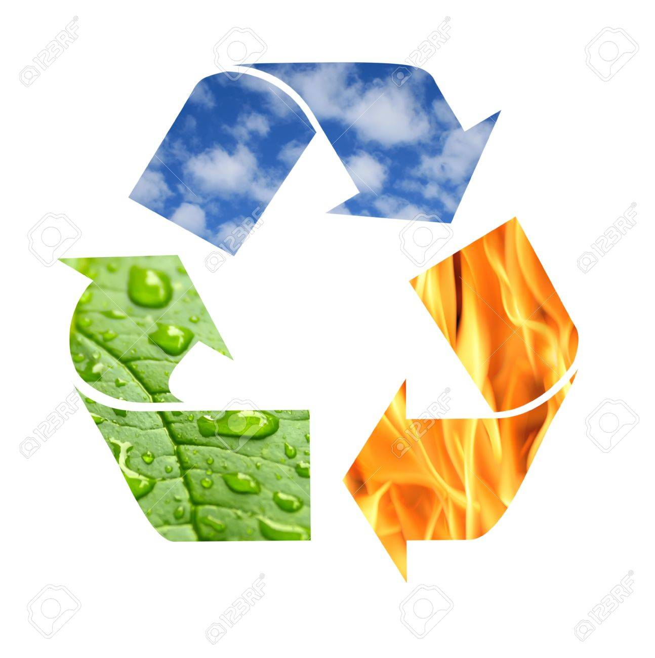 Recycle symbol made from fire clouds and green leaf with drops recycle symbol made from fire clouds and green leaf with drops of water stock photo biocorpaavc Choice Image