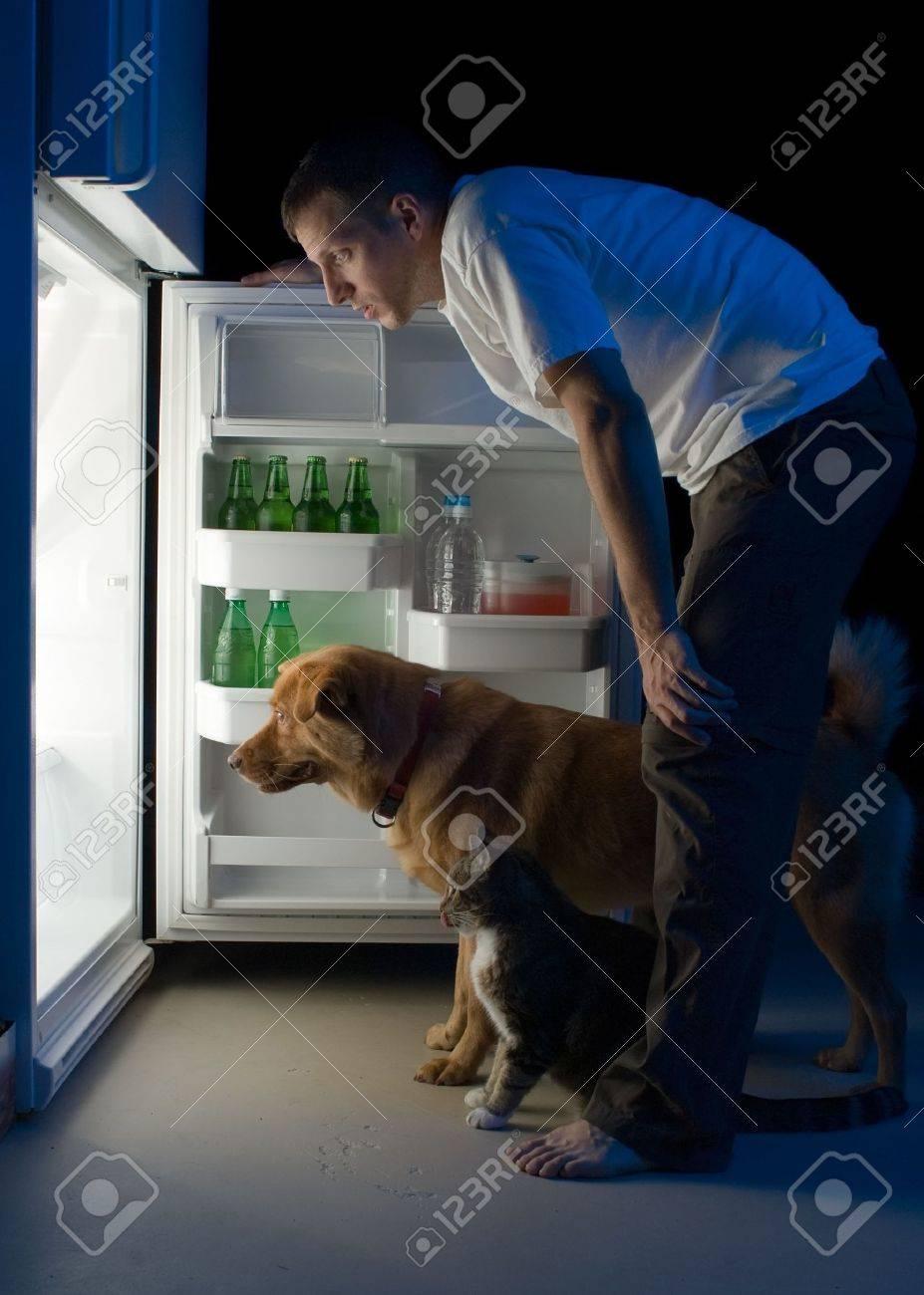 Der Mensch Und Seine Haustiere Suchen Für Lebensmittel In Den ...