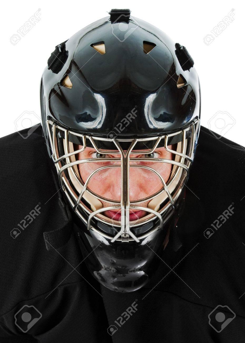 Ice Hockey Goalie Portrait Photo On White Background Stock Photo