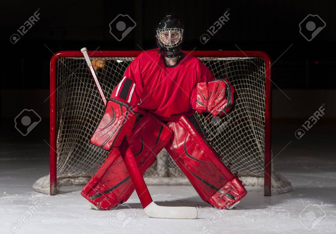 Ice hockey goalie in front of a goal net Stock Photo - 15044248