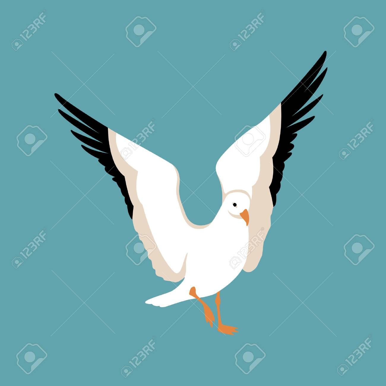 かもめ鳥ベクトル イラスト スタイル フラットのイラスト素材ベクタ