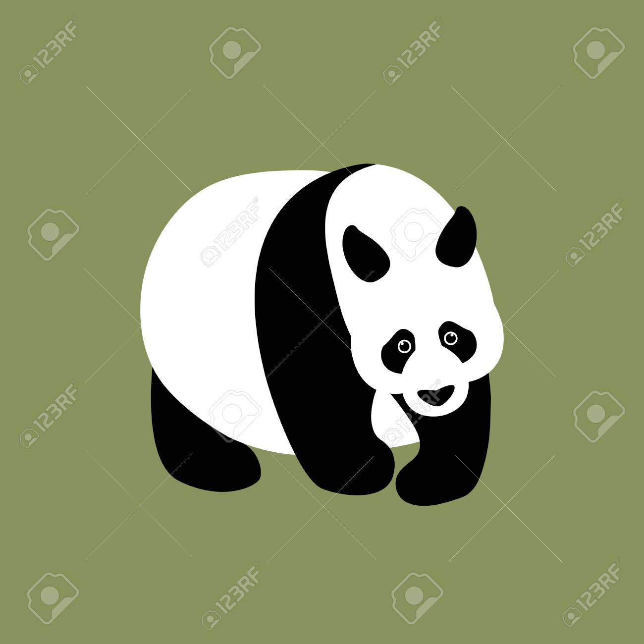 panda vector illustration style flat side front royalty free