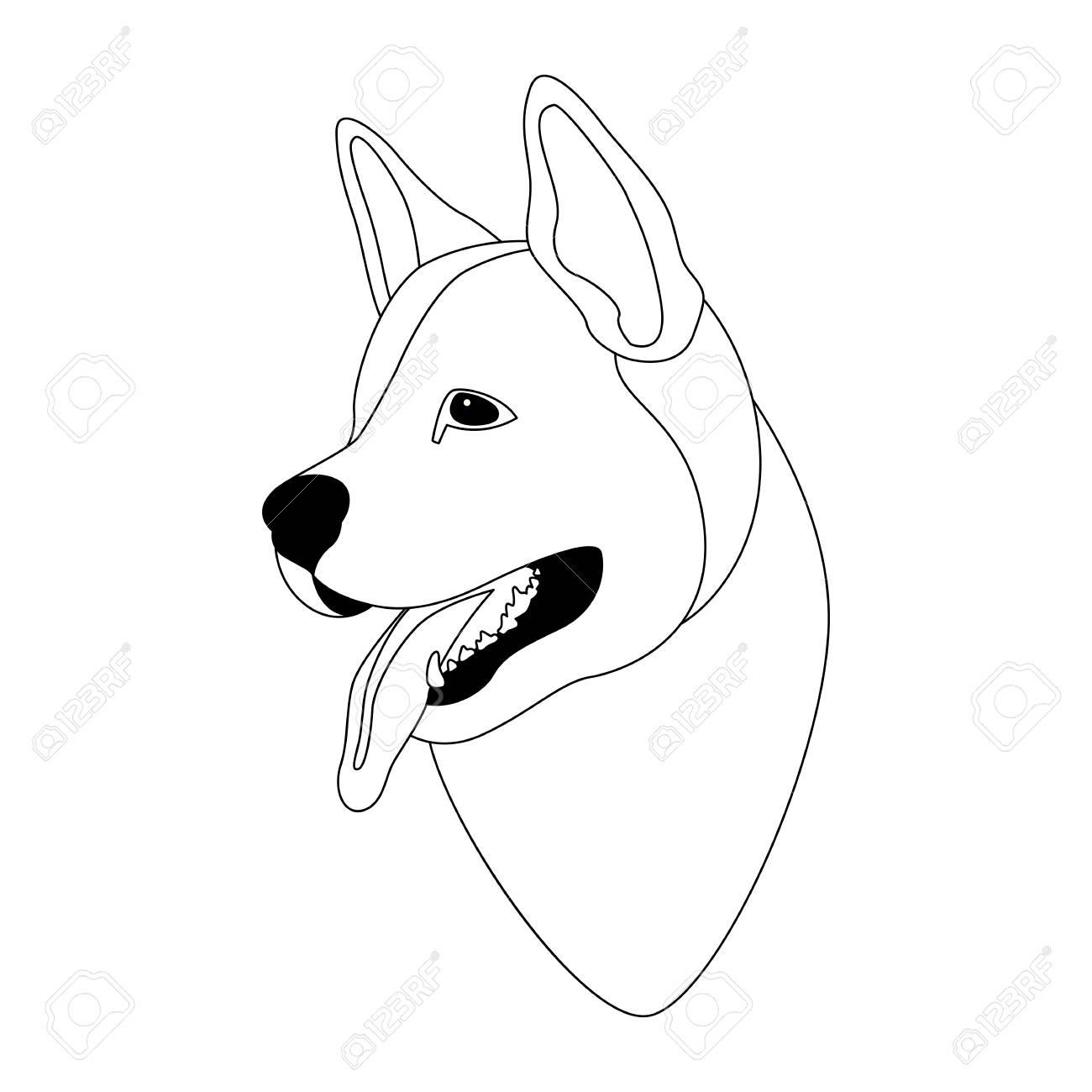 Husky dog face illustration line drawing head stock vector 85352859