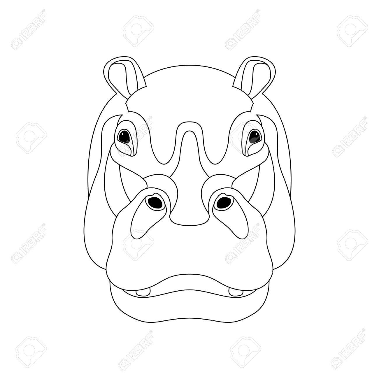 Hippo face vector illustration front side line drawing stock vector 85440734