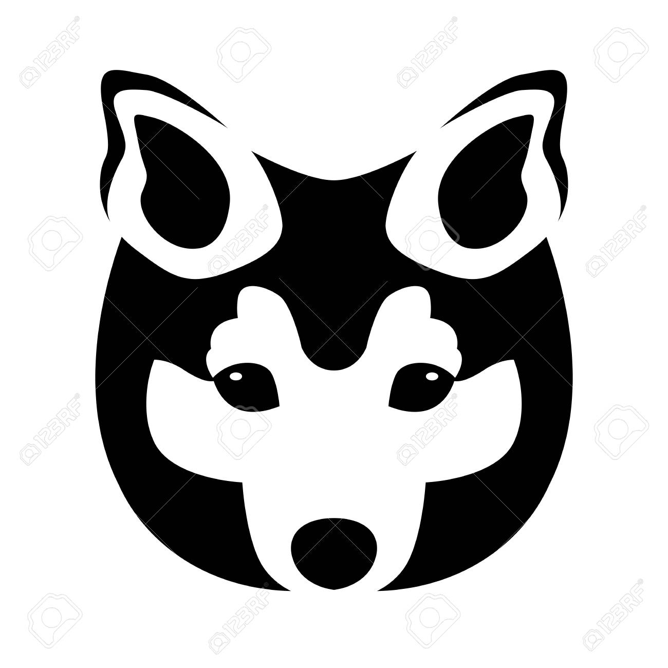 Dog Face Vector Illustration Black Silhouette Front Side