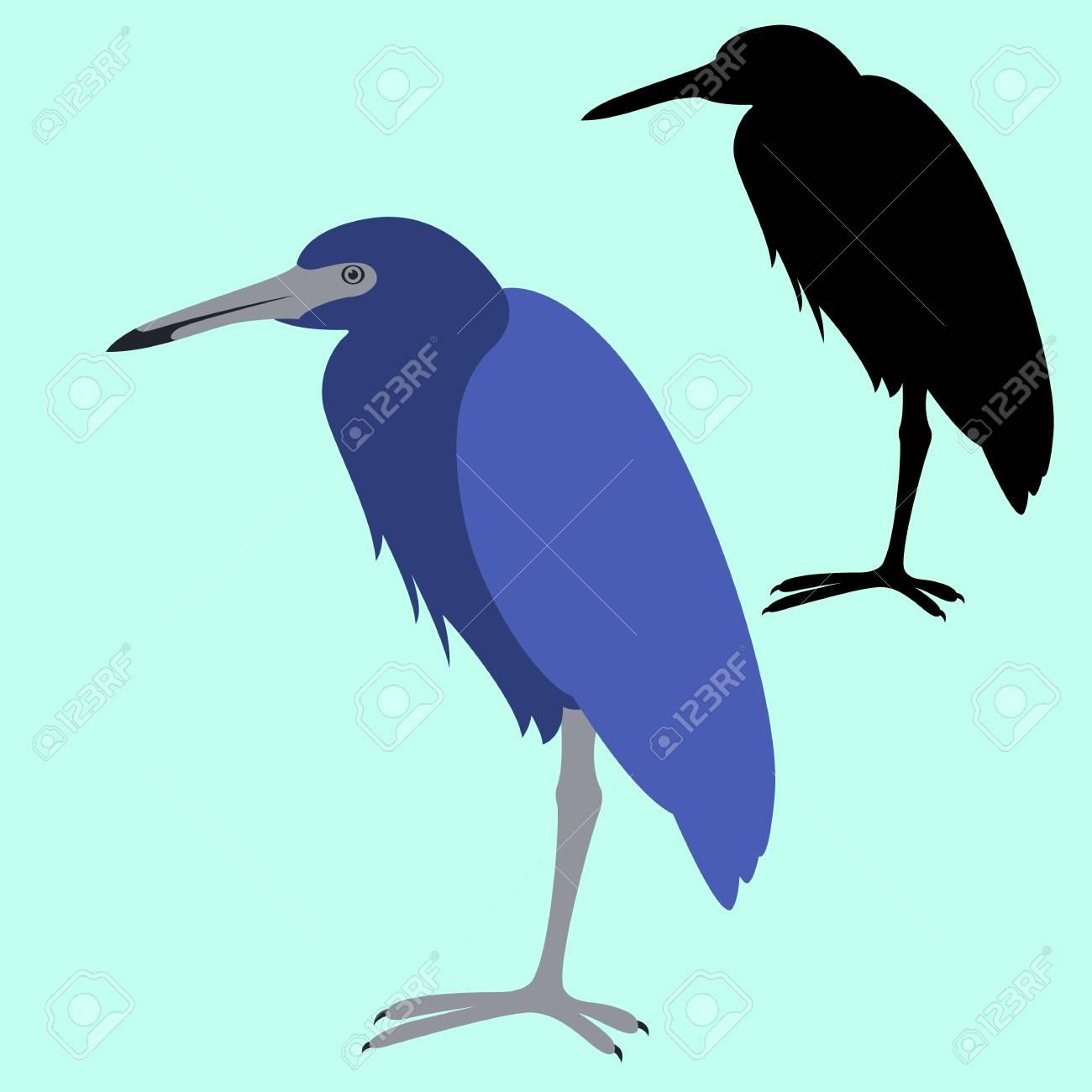 blue heron vector illustration flat style profile side black