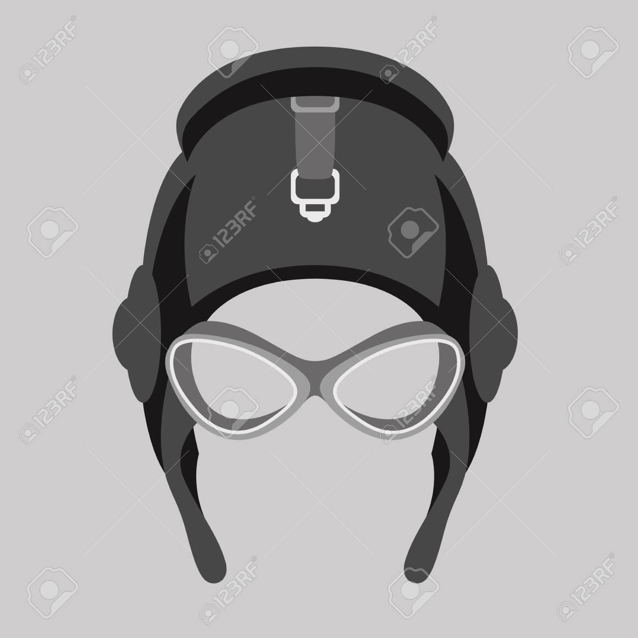 7ff0b52d52 aviator helmet vector illustration flat style front side Stock Vector -  110129195