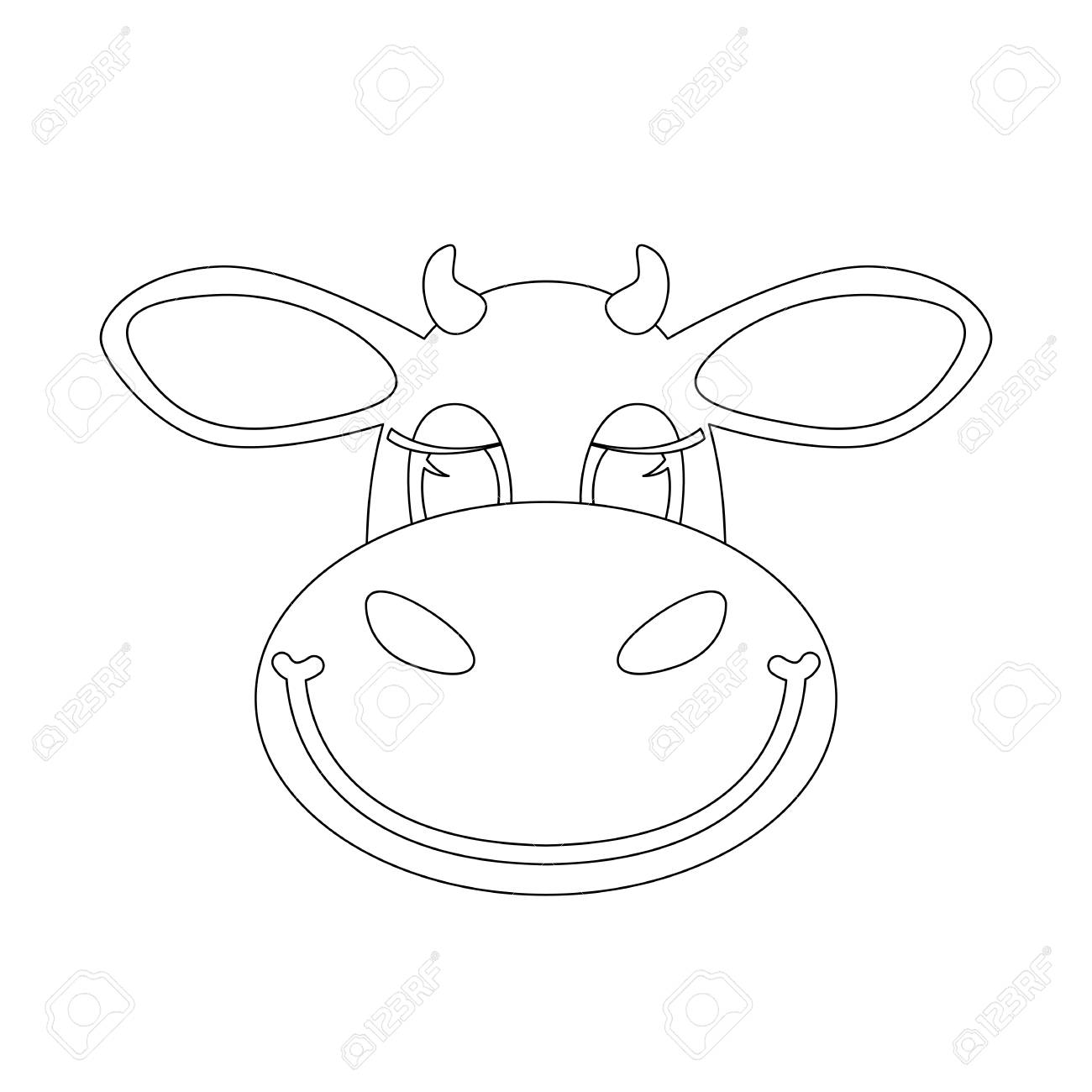 Cartoon Cow Face Lining Draw Front View Vector Illustration