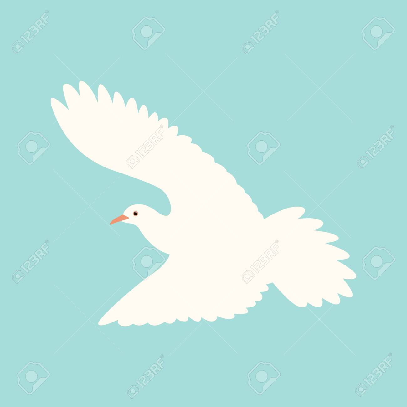 white dove.vector illustration, flat style ,profile view - 123170538