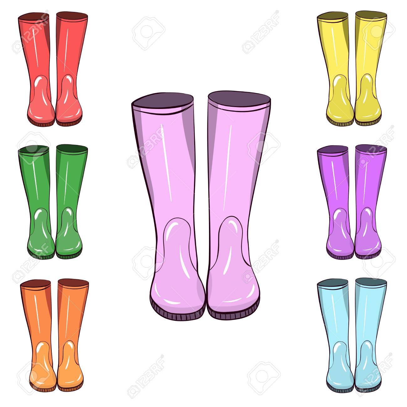 Rubber boots, gumboots. Hand drawn, vector isolated illustration. Protect from water and mucky terrain - 112198450