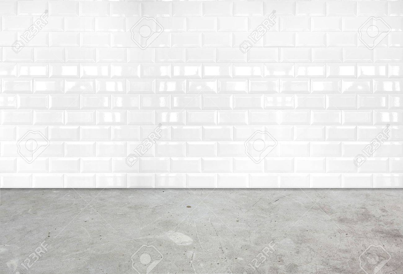 Room Perspectivewhite Ceramic Tile Wall And Cement Ground Stock
