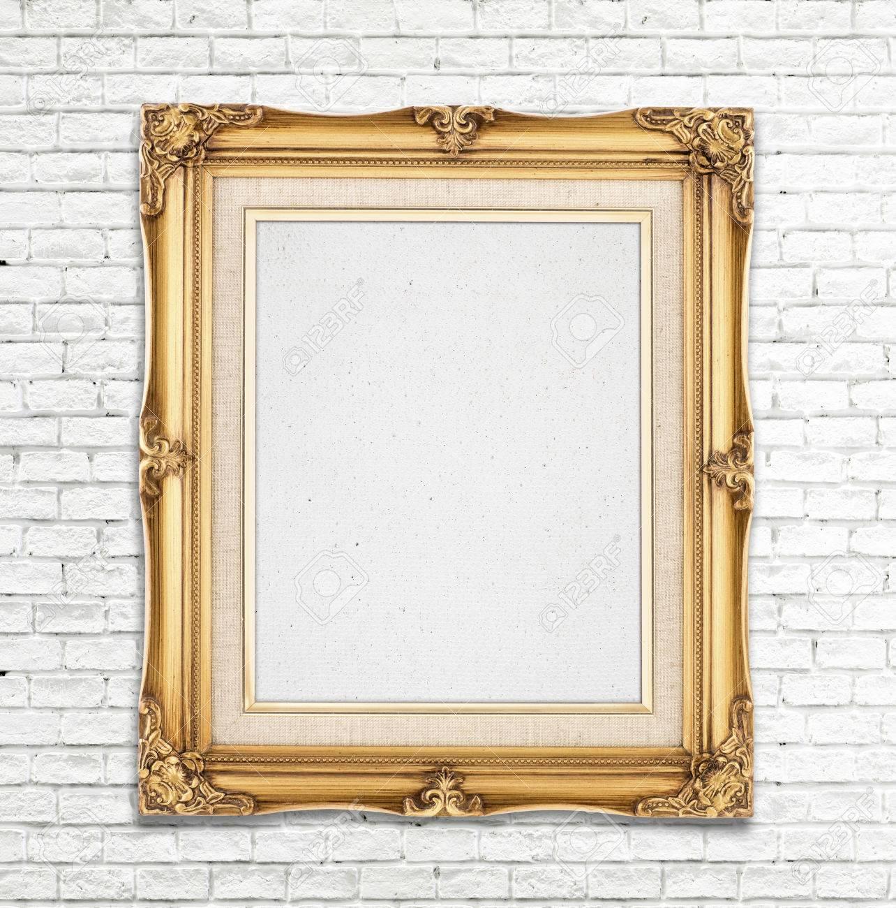 Blank Goldweinlese Bilderrahmen Auf Weisse