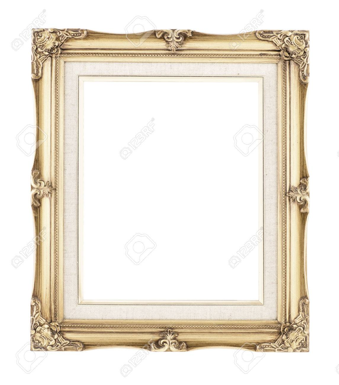 Empty Rich Gold Gilded Wood With Inner Canvas Vintage Frame On ...