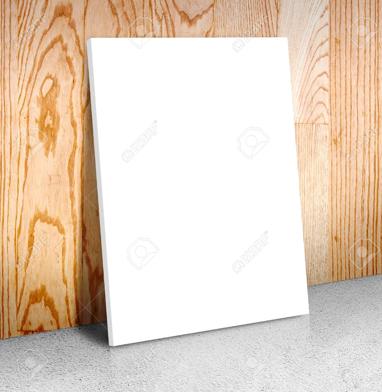 Blank White Poster Frame At Concrete Floor And Wooden Wall, Canvas ...