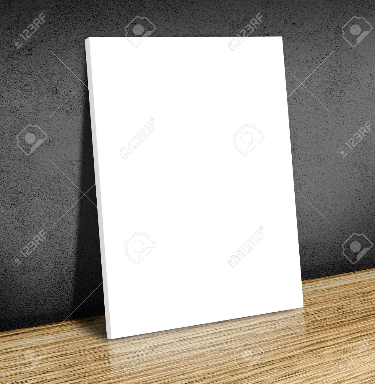 Blank White Poster Frame At Wooden Floor And Black Concrete Wall ...