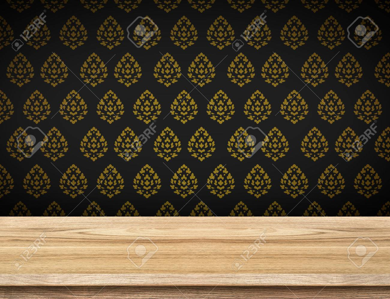 Empty Table Top With Black Wallpaper With Thai Pattern Walltemplate