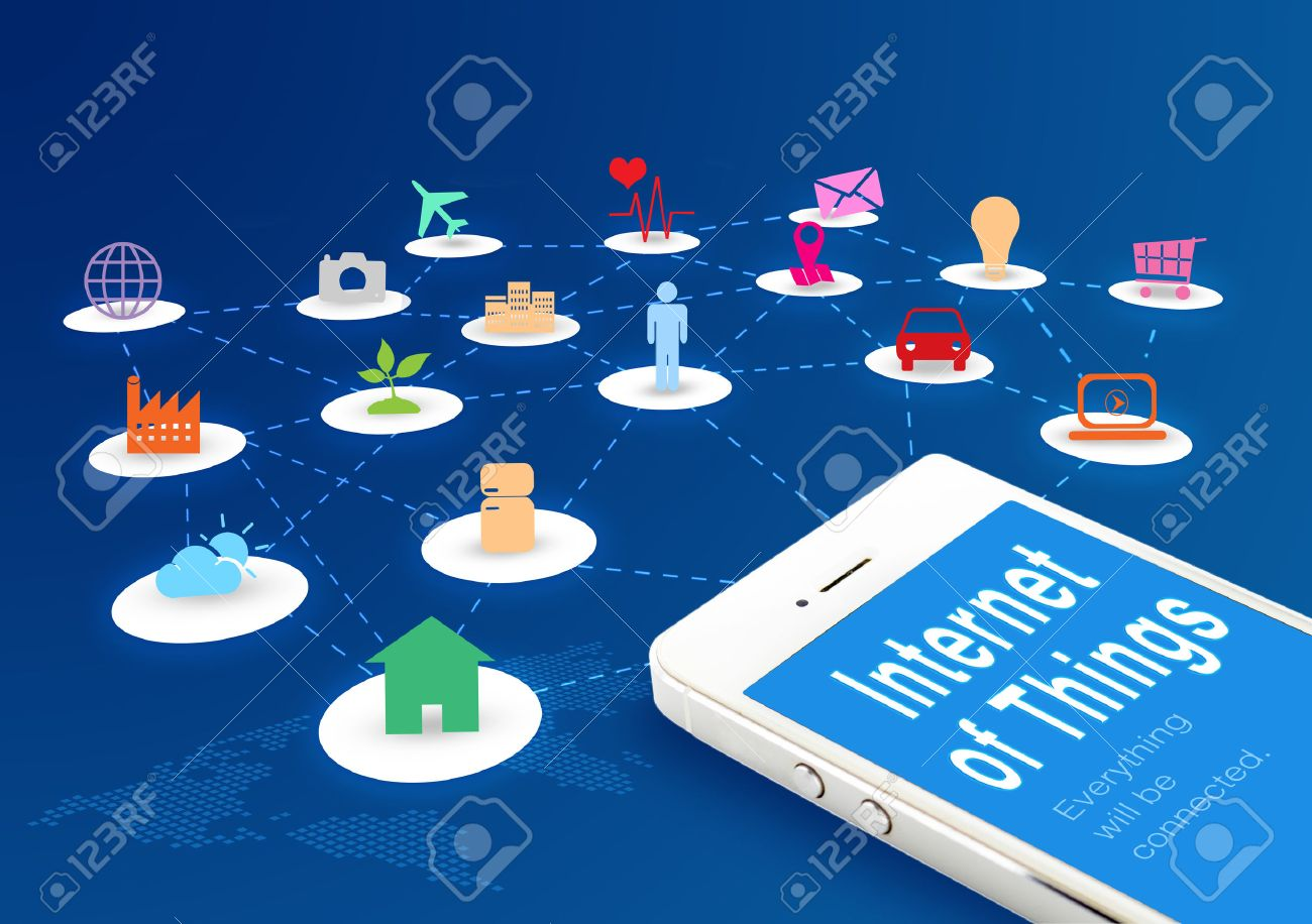Smart Phone With Internet Of Things (IoT) Word And Objects Icon ...