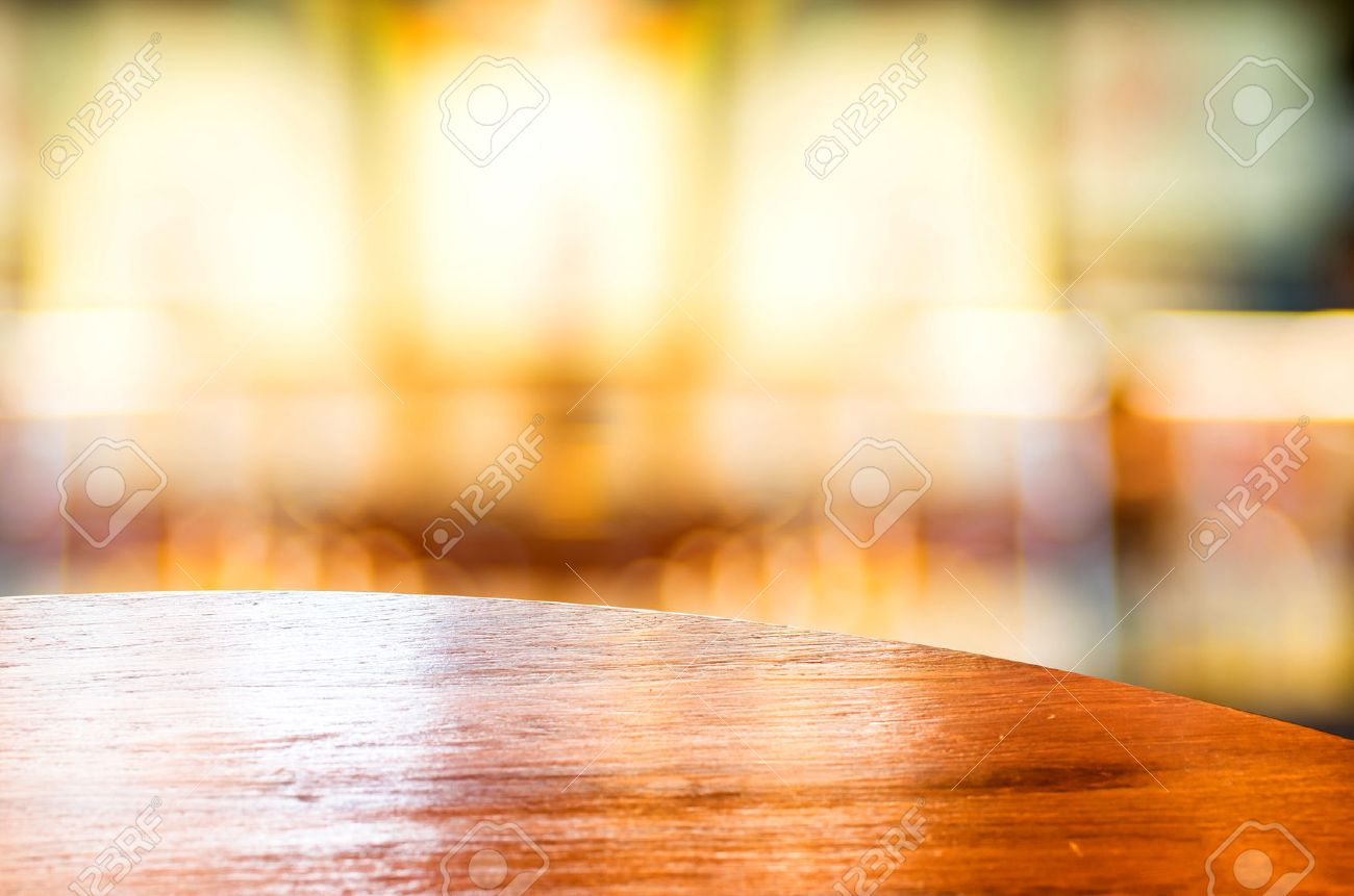 Empty wood table and blurred living room background stock photo - Empty Round Table Top At Coffee Shop Blurred Background With Bokeh Light Stock Photo 37886024