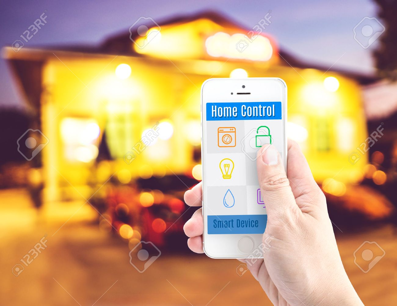 Best Hand Holding Smart Phone With Home Control Application With Blur With  Control Home With Phone