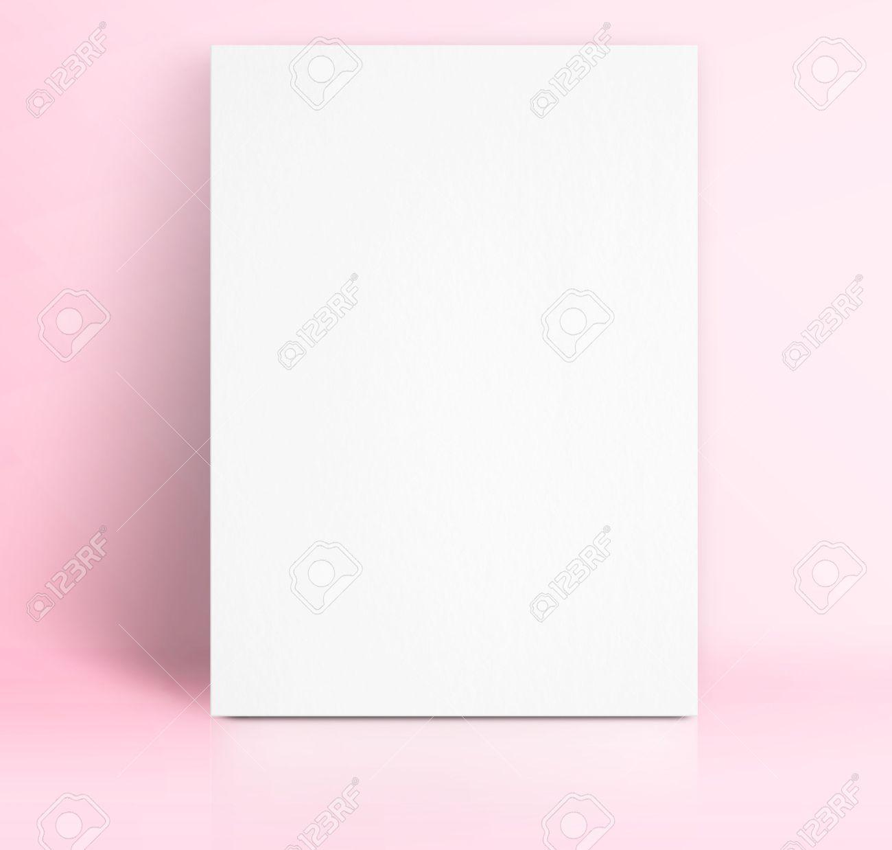 Black White Paper Poster Lean At Pastel Pink Color Studio Room ...