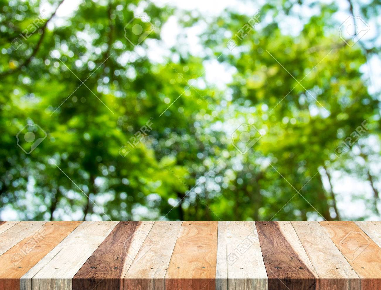 Empty Perspective Table With Blurred Green Tree Forest,Template ...